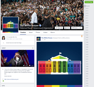 Screenshot der Facebook-Seite des Weißen Hauses am 26.06.2015 - es zeigt ein neu hochgeladenes Profilbild mit der stilisierten Front des weißen Hauses in Regenbogenfarben.